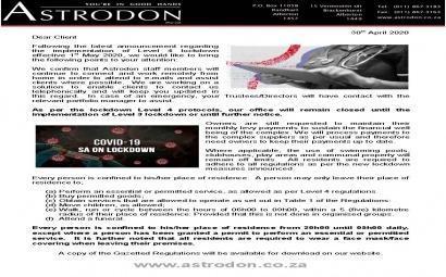 Astrodon Newsletter Level 4 Lockdown